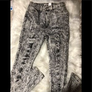 Tie dyed ripped jean